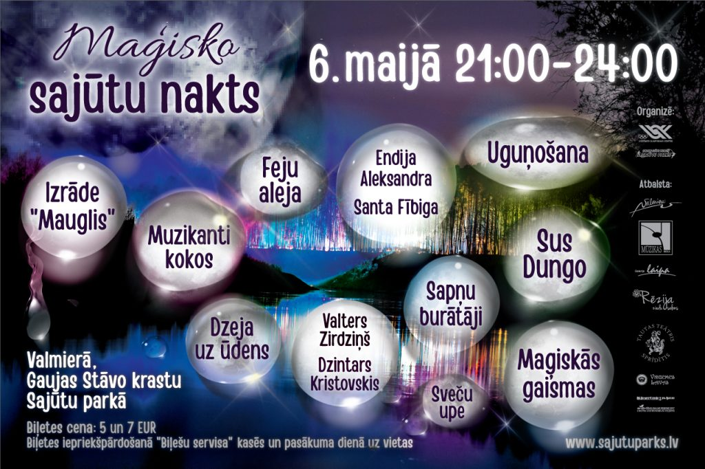"""""""Maģisko sajūtu nakts"""" 6. maijā, Valmierā, Gaujas stāvo krastu Sajūtu parkā"""